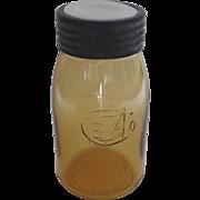 1976 Historic Reprodution Ball Amber Glass Buffalo Jar