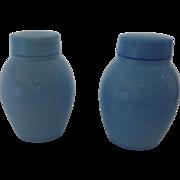Pair of Beautiful Blue Bristol Glass Tea Caddies Caddy Jars with Lids