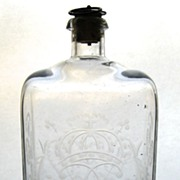 Antique Case Bottle with Wheel Cut Engraved Crown