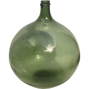 French Blown Glass Demi-John Demijohn Green 15""