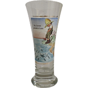 """Vintage French Pilsner Beer Glass Humorous Saying """"Don't Drink the Water"""""""