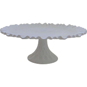 Vintage Olde Virginia Fenton Milk glass Thumbprint Pattern Cake Plate Stand