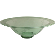 Large Depression Glass Green Footed Bowl 12""