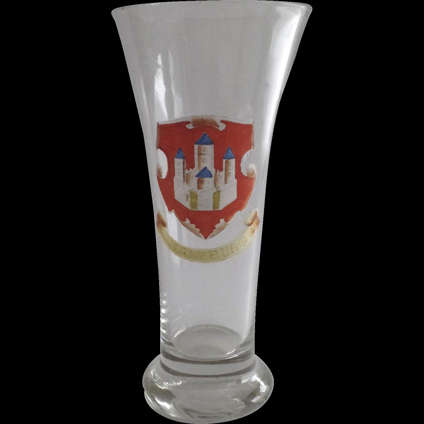 Beer Glass German Painted