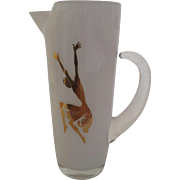 Mid Century White Glass Martini Cocktail Bar Pitcher with Gold Dancer