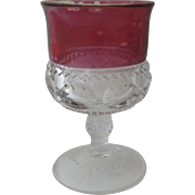Vintage Red Clear Stemmed Wine Glass