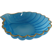 Vintage Bristol Blue Glass Shell Shaped Bowl