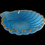 Vintage Bristol Blue Glass Shell Shaped Bowl