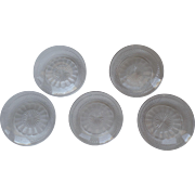 """Vintage St. Louis Crystal Cristal France Cut Crystal Signed Dessert Salad Plates 6 1/2"""""""