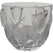Vintage Nice French Lead Crystal Bowl Raised Tulip Motif