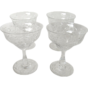 Elegant Etched Glass Crystal Stemware Wine Water Goblet Champagne, Set of 4