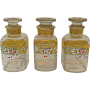"Vintage Hand Painted Decanter Bottles ""Bicarb Soda"" ""Lotion"" ""Mouth Wash"" Canary Yellow"
