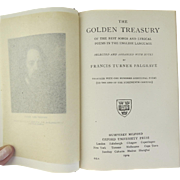 Vintage Book The Golden Treasury of the Best Songs and Lyrical Poems in the English Language, Moroccan Leather-Bound