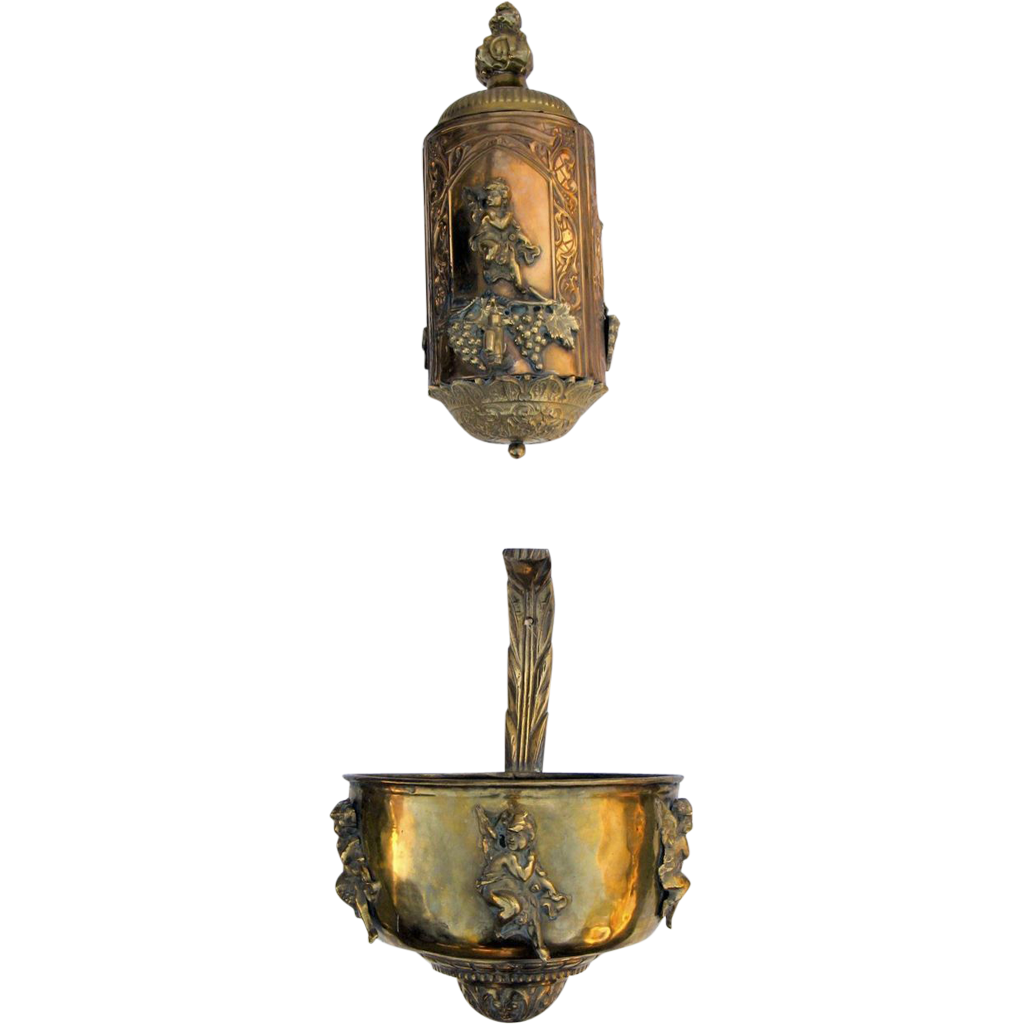 French Brass and Copper Lavabo Angels Putti