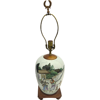 Chinese Export Famille Verte Ginger Jar/Lamp Qing Dynasty