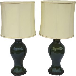 Pair Vintage Bottle  Green Glazed Lamps with Chinese Carved Wooden Base 20th Century