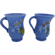 """Pair of Hand Blown Blue Glass Mugs Glasses with Enamel Painted Flowers """"Think of Me"""" Mid 19th Century"""