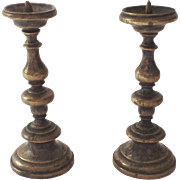Early Miniature Baroque Pricket Candlesticks Brass Holland ca. 1600 Pair