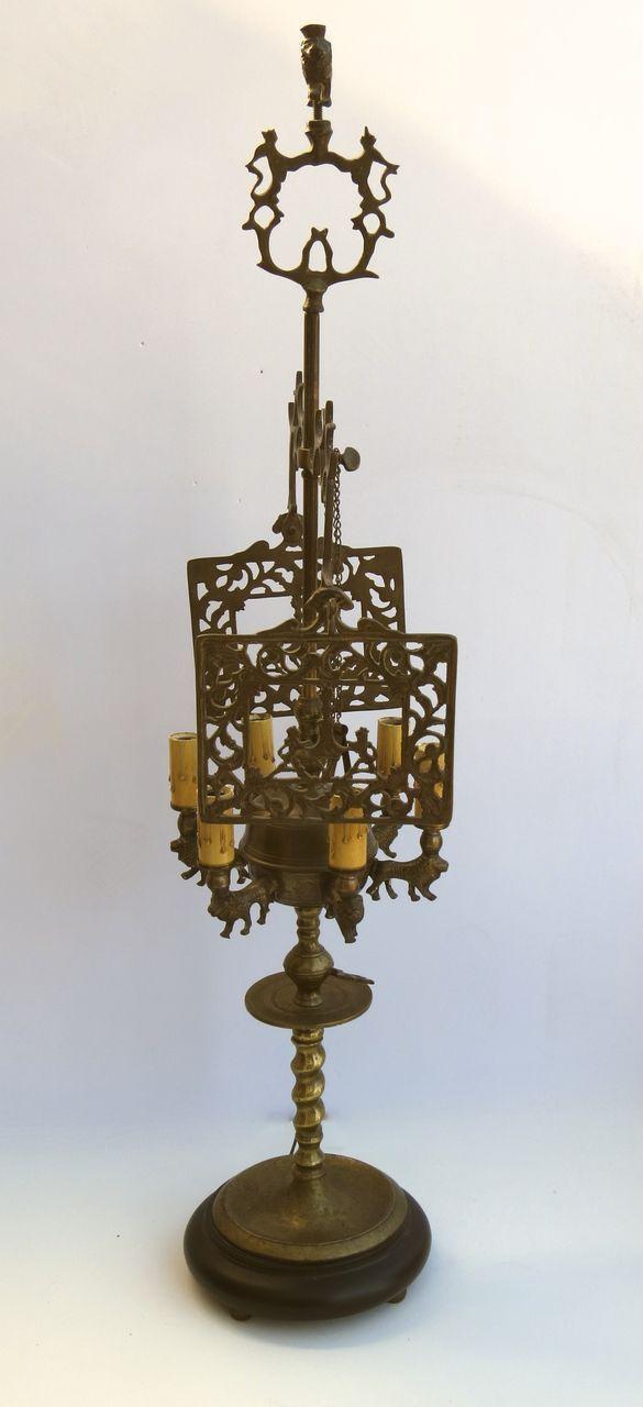 L.223 Brass Six Arm Whale Oil Lamp