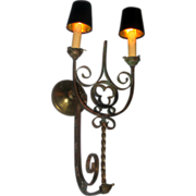 Large Gothic Revival Two Arm Wall Sconce