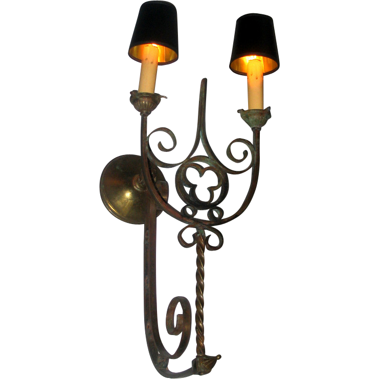 Large Gothic Revival Two Arm Wall Sconce from blacktulip on Ruby Lane