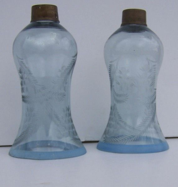 Pair of Wheel Etched Blue Glass Shades