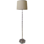 Vintage Chrome Lotus Bamboo Floor Lamp