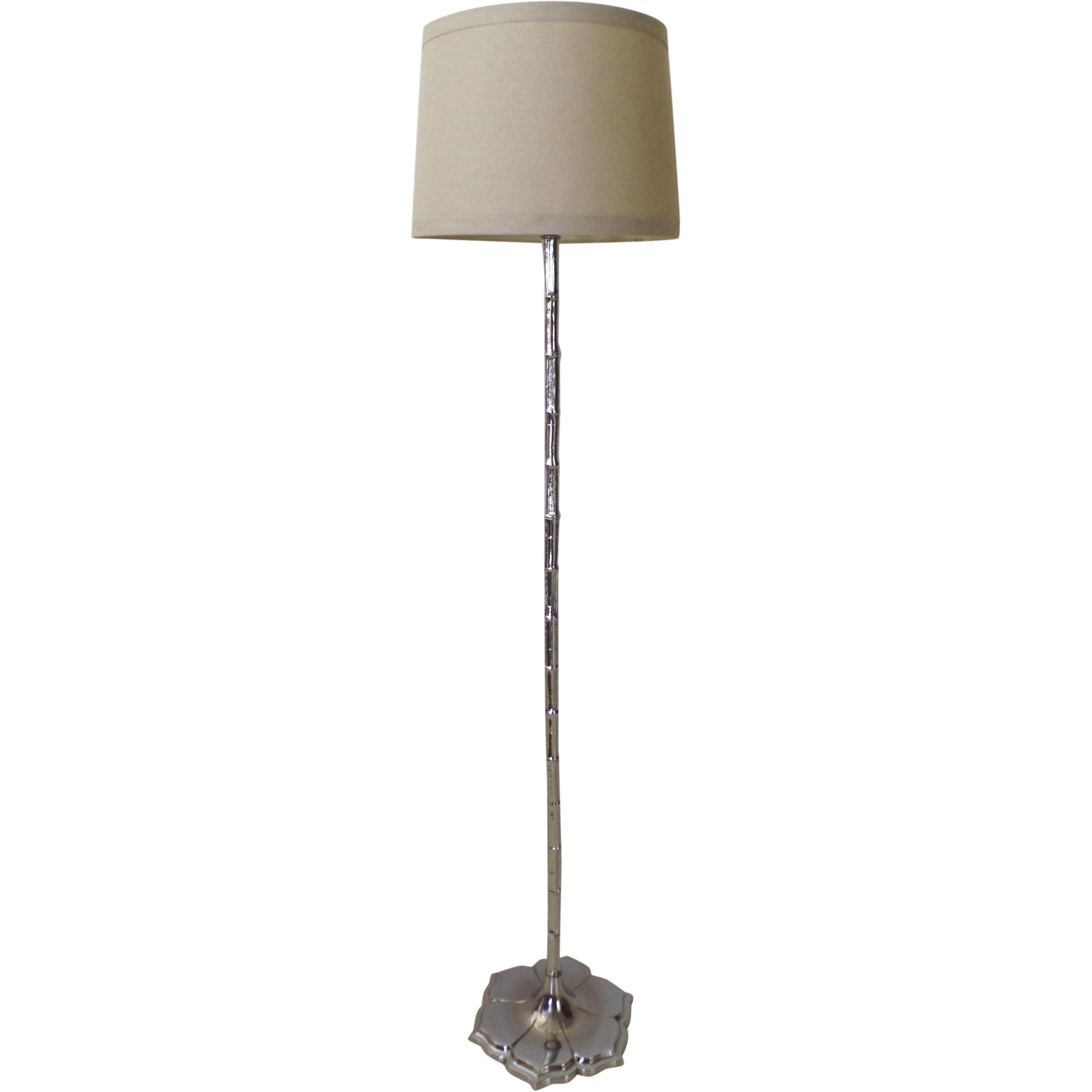Vintage Chrome Lotus Bamboo Floor Lamp From Blacktulip On