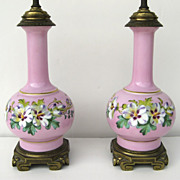 Pair of Pink and Pansy Painted Old Paris Lamps