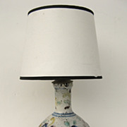 Italian Faience Vase Now as Lamp
