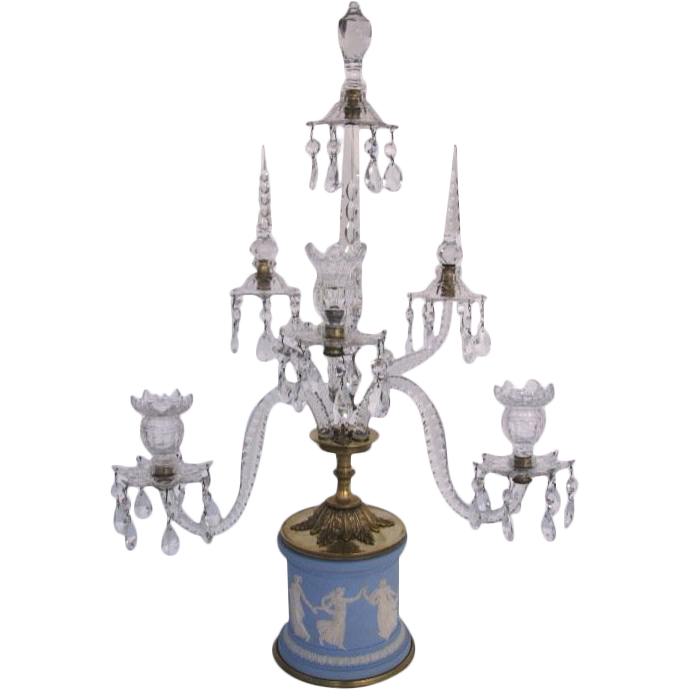 Jasperware Base Five Arm Crystal Candelabra