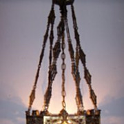 Cast and Gilt Bronze Gothic Stylehanging Light.