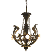 Bronze Six  Arm Chandelier with Acanthus Leaf and Fleur de Lis