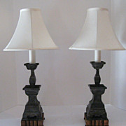 Pair of Chinese Pewter Candlesticks Now as Lamps.
