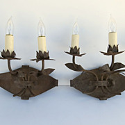 Pair of Iron Three Arm Wall Sconces
