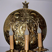 Pair of English Brass Repousse Three Arm Sconces