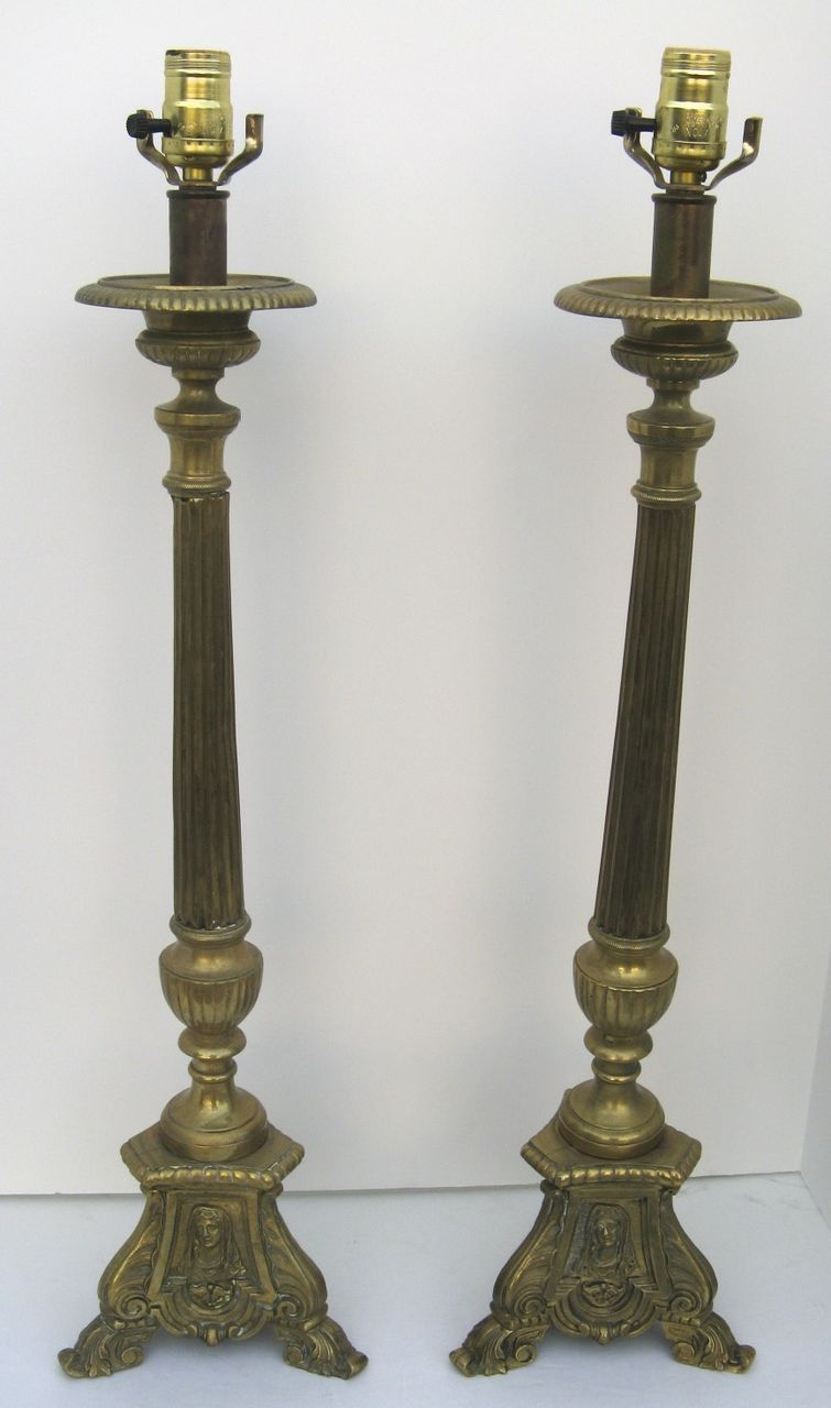 Pair of Tall Brass Pricket Sticks now as Lamps