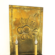 Brass Repousse Two Arm Wall Sconce