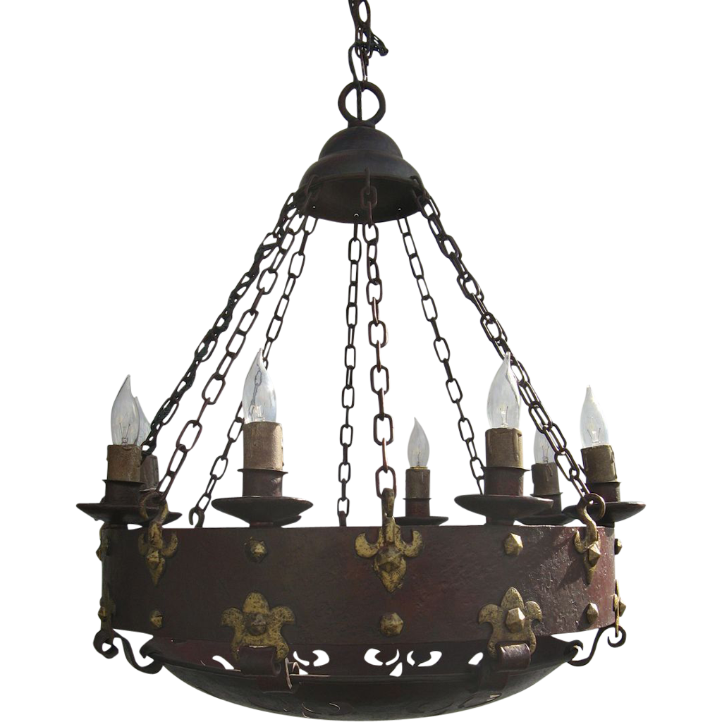 Wonderful arts and crafts iron gothic style chandelier castle wonderful arts and crafts iron gothic style chandelier castle fleur de lis painted iron arubaitofo Gallery
