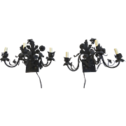 Pair of Hand Wrought Iron Wall Sconces Floral Motif c 1900