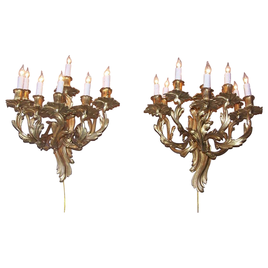 Pair of Louis XV Style Bronze Gilt Eight Arm Wall Sconces