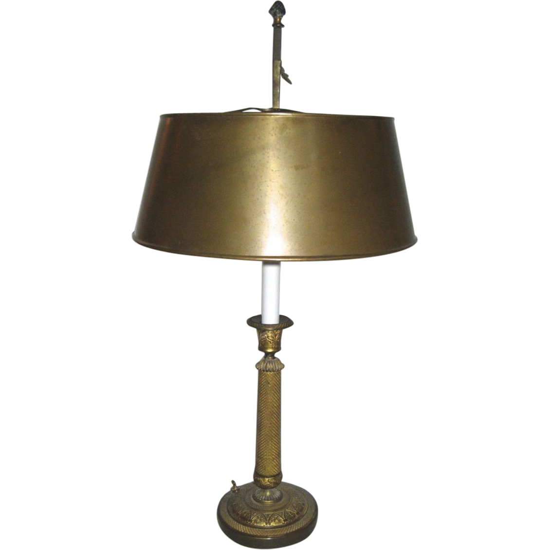 Signed French Empire Candlestick now as a Lamp Tole Shade