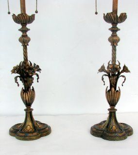 Pair of Emamel Painted Iron Lamps by Almco