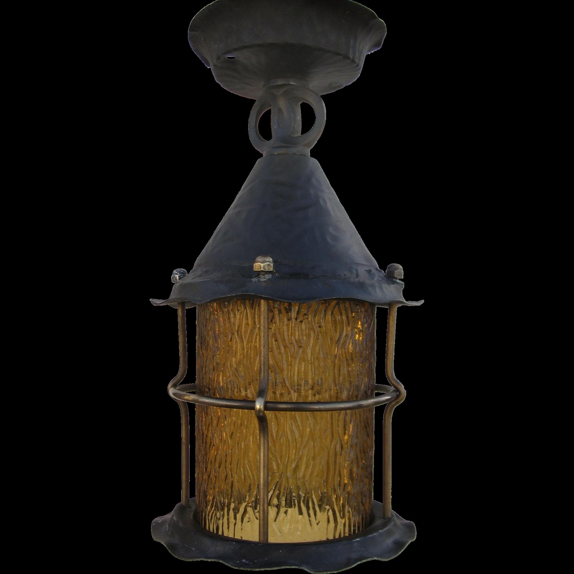 Porch Light Denver: 1920's Amber Glass Lantern Porch Hanging Light Chandelier
