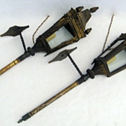 Pair of Italian Tin Gilt Gondola Lanterns.