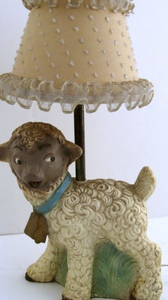 Children's Painted Sheep Lamp 1950's SOLD on Ruby Lane