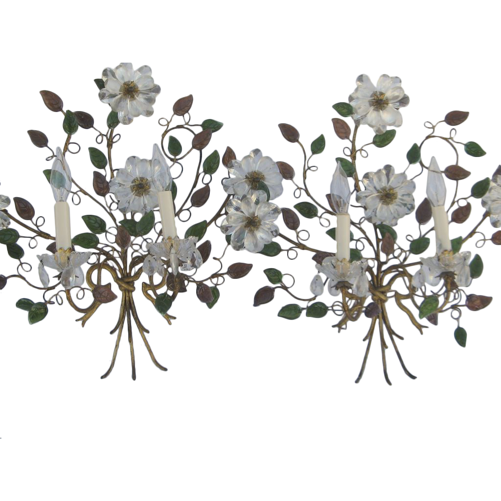 Wall Sconces With Flowers: Pair Of French Wall Sconces Bouquet Glass Flowers From