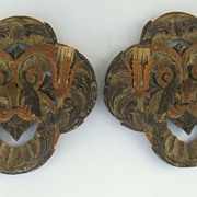 Pair of French Carved Painted Two Arm Wall Sconces