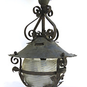 American Iron Architectural Lantern Porch with Opalescent Shade