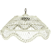 Vintage White Painted Wicker Domed Hanging Light Chandelier